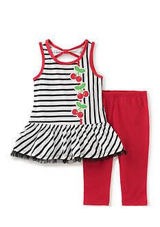 Kids Headquarters Stripe Cherry Top and Solid Legging 2-Piece Set Toddler Girls