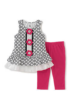 Kids Headquarters Printed Peplum Top and Leggings 2-Piece Set Toddler Girls