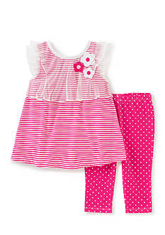 Kids Headquarters Stripe Top and Dotted Legging 2-Piece Set Toddler Girls