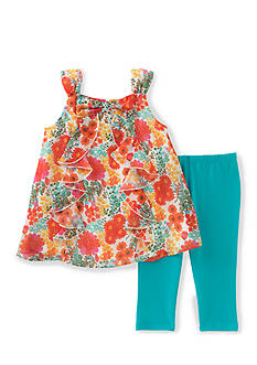 Kids Headquarters Floral Ruffle Top and Solid Legging 2-Piece Set Toddler Girls