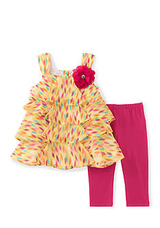 Kids Headquarters Ruffle Printed Tank and Solid Leggings 2-Piece Set Toddler Girls