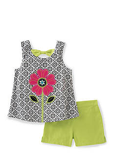 Kids Headquarters Flower Tank and Solid Shorts 2-Piece Set Toddler Girls