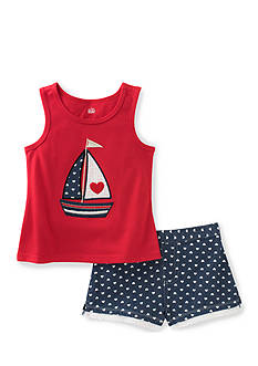 Kids Headquarters Sailboat Top and Short 2-Piece Set Toddler Girls