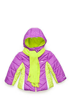 Pacific Trail Colorblock Puffer Jacket and Scarf Toddler Girls