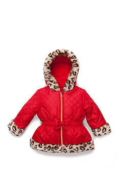 Pistachio Quilted Faux Fur Trim Jacket Toddler Girls