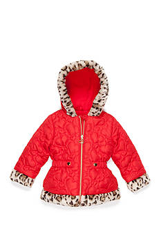 Pistachio Heart Quilted Mixed Media Jacket Toddler Girls