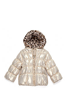 Pistachio Foil Shimmer Puffer Coat Toddler Girls