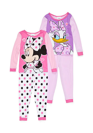 Disney 4-Piece Minnie Mouse and Daisy Duck Pajama Set Toddler Girls