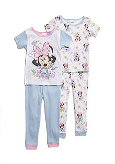 Disney Minnie Mouse Flowers 4-Piece Pajama Set Toddler Girls