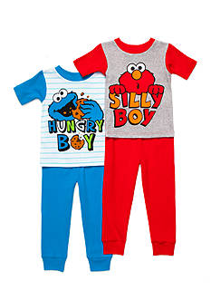 Sesame Street Elmo and Cookie Monster 4-Piece Pajama Set Toddler Boys