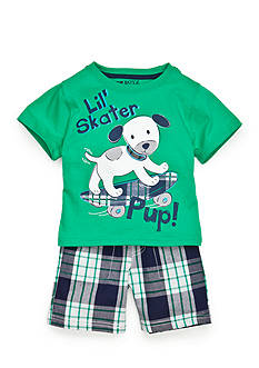 Nannette 2-Piece Skater Pup Tee and Plaid Short Set