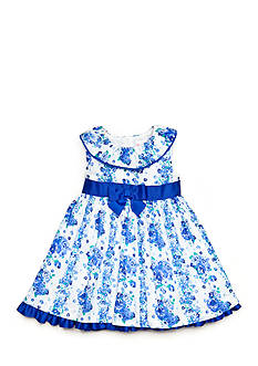 Nannette Floral Clip Dot Dress Toddler Girls