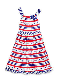 Nannette Patterned Stars and Stripes Dress Toddler Girls
