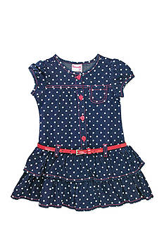 Nannette Dot Jean Ruffle Dress Toddler Girls