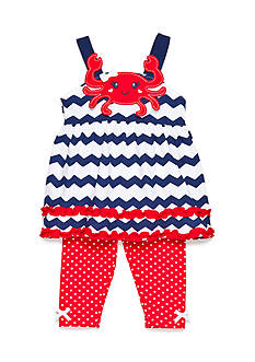 Nannette Navy Crab Capri Set