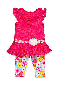 Nannette 2-Piece Floral Lace Tunic and Capri Set Toddler Girls