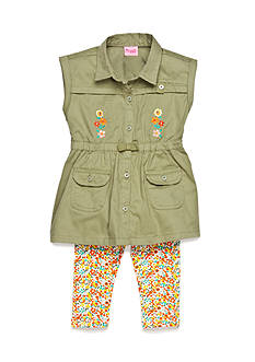 Nannette 2-Piece Button Front Tunic and Floral Capri Set Toddler Girls