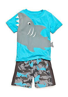 Nannette 2-Piece Shark Short Set Toddler Boys