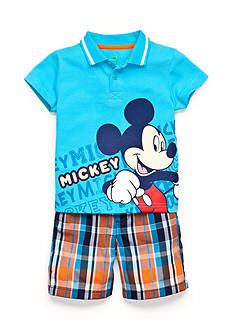 Disney® 2-Piece Mickey Mouse Polo and Plaid Shorts Set