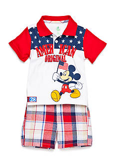 Disney® Mickey Plaid 2-Piece Short Set
