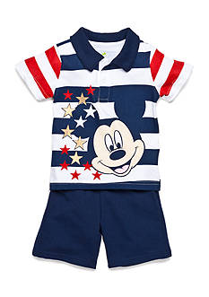 Disney® Navy Stripe Mickey 2 Piece Short Set