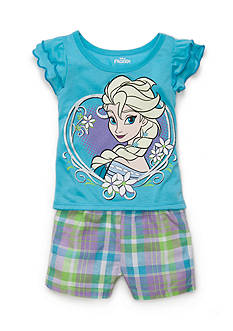 Nannette 2-Piece Frozen Top and Plaid Short Set Toddler Girls