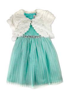 Nannette Faux Fur Shrug Glitter Mesh Dress Toddler Girls