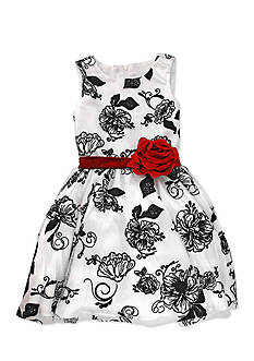 Nannette Flocked Jacquard Mesh Dress Toddler Girls
