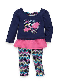 Nannette 2-Piece Butterfly Shirt and Multi Color Leggings Set Baby/Infant Girl