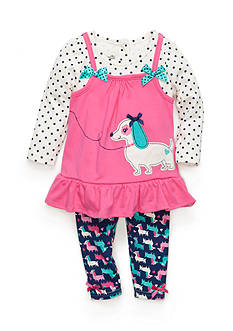 Nannette 2-Piece Polka Dot Top and Puppy Print Leggings Set Baby/Infant Girl