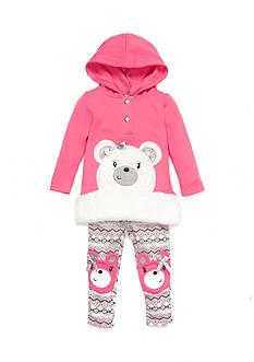 Nannette Infant Girl Bear Patched Pant Set