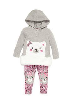 Nannette Infant Girl Two Piece Fleece Cat Set