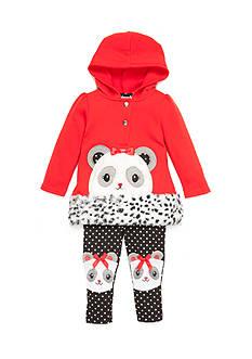 Nannette Infant Girl Panda Bear Patch Pant Set