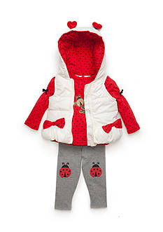 Nannette Infant Girl 3-Piece Love Bug Vest Set