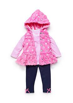 Nannette 3-Piece Heart Vest, Striped Shirt, and Leggings Set