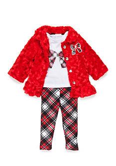 Nannette 3-Piece Faux Fur Coat, Plaid Legging Set
