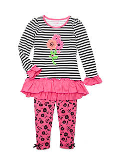 Nannette 2-Piece Stripe Flower Set Toddler Girls