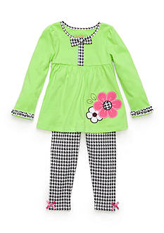 Nannette 2-Piece Flower Houndstooth Tunic and Legging Set Toddler Girls