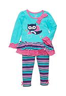 Nannette Owl Rainbow Tunic and Legging 2-Piece
