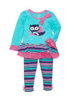 Nannette Owl Rainbow Tunic and Legging 2-Piece Set Toddler Girls