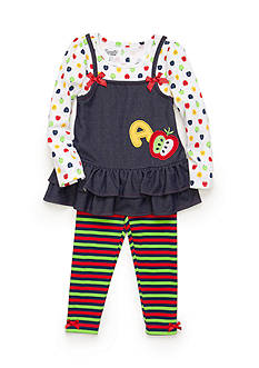 Nannette 2-Piece Back To School Tunic and Stripe Legging Set Toddler Girls