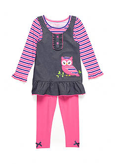 Nannette Owl Chambray Dress and Legging 2-Piece Set Girls Toddler Girls