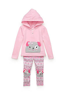 Nannette Dog Fleece Long Sleeve Shirt and Printed Pant Set Toddler Girls