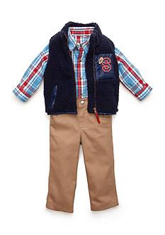 Nannette 3-Piece Plaid Button Front Vest, and Pant Set
