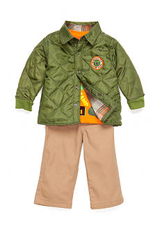 Nannette 3-Piece 'Camp Big Dino' Shirt, Coat, and Pants Set