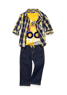 Nannette 3-Piece Plaid Button-Front Shirt, Dump Truck Tee, and Jeans Set