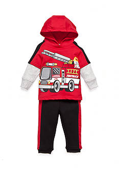 Nannette 2-Piece Fire Truck Fleece Set