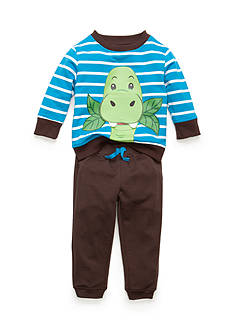 Nannette 2-Piece Striped Dinosaur Chomp Top and Solid Brown Pants Baby/Infant Boy