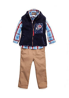 Nannette Sherpa Vest Woven 3-Piece Set Toddler Boys