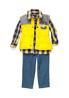 Nannette Yellow Vest Woven Denim 3-Piece Set Toddler Boys